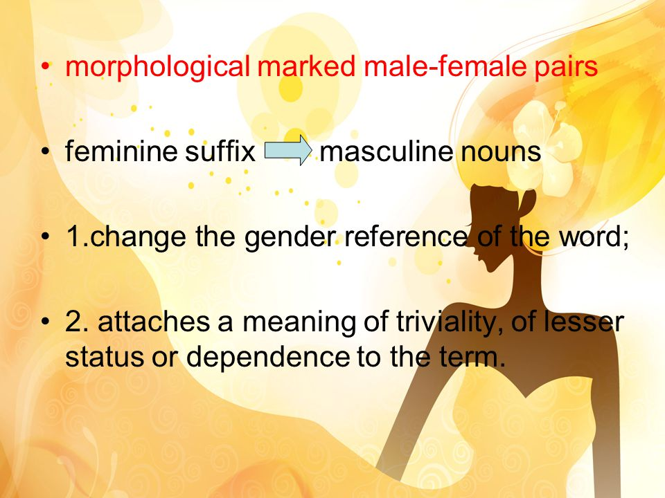 morphological marked male-female pairs feminine suffix masculine nouns 1.change the gender reference of the word; 2.