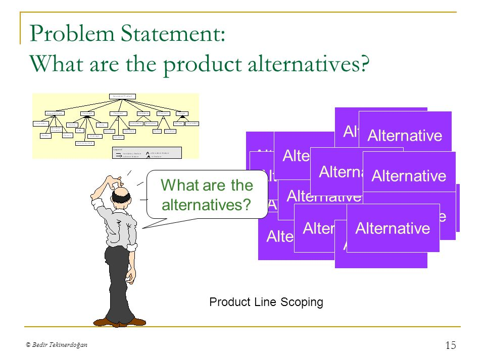 © Bedir Tekinerdoğan 15 Problem Statement: What are the product alternatives.