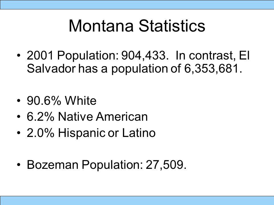 Montana Statistics Land Area: 376,980 square kilometers.