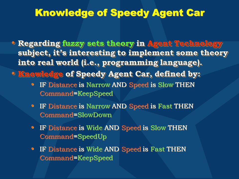 Knowledge of Speedy Agent Car Regarding fuzzy sets theory in Agent Technology subject, it's interesting to implement some theory into real world (i.e.