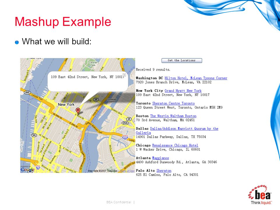 BEA Confidential Mashup Example What we will build:
