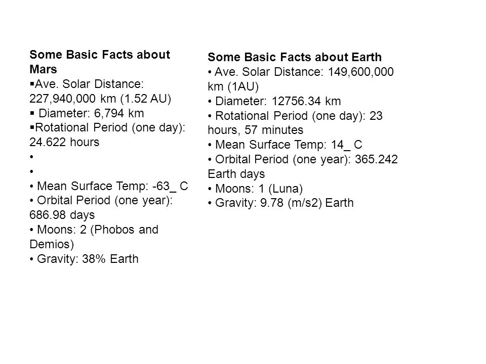 Some Basic Facts about Earth Ave. Solar Distance: 149,600,000 km (1AU) Diameter: 12756.34 km Rotational Period (one day): 23 hours, 57 minutes Mean Su