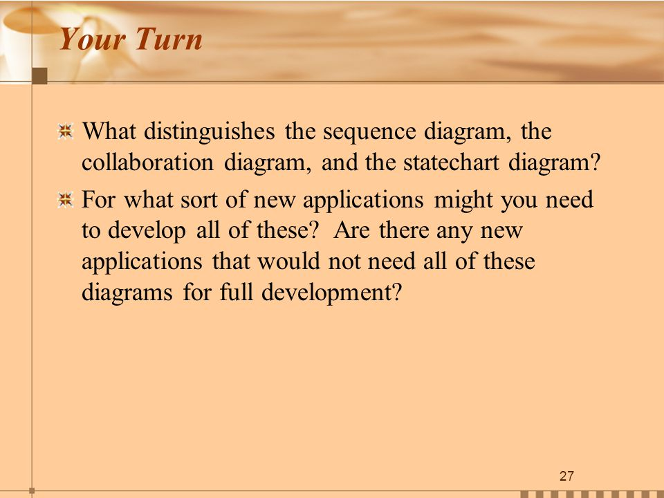 27 Your Turn What distinguishes the sequence diagram, the collaboration diagram, and the statechart diagram.