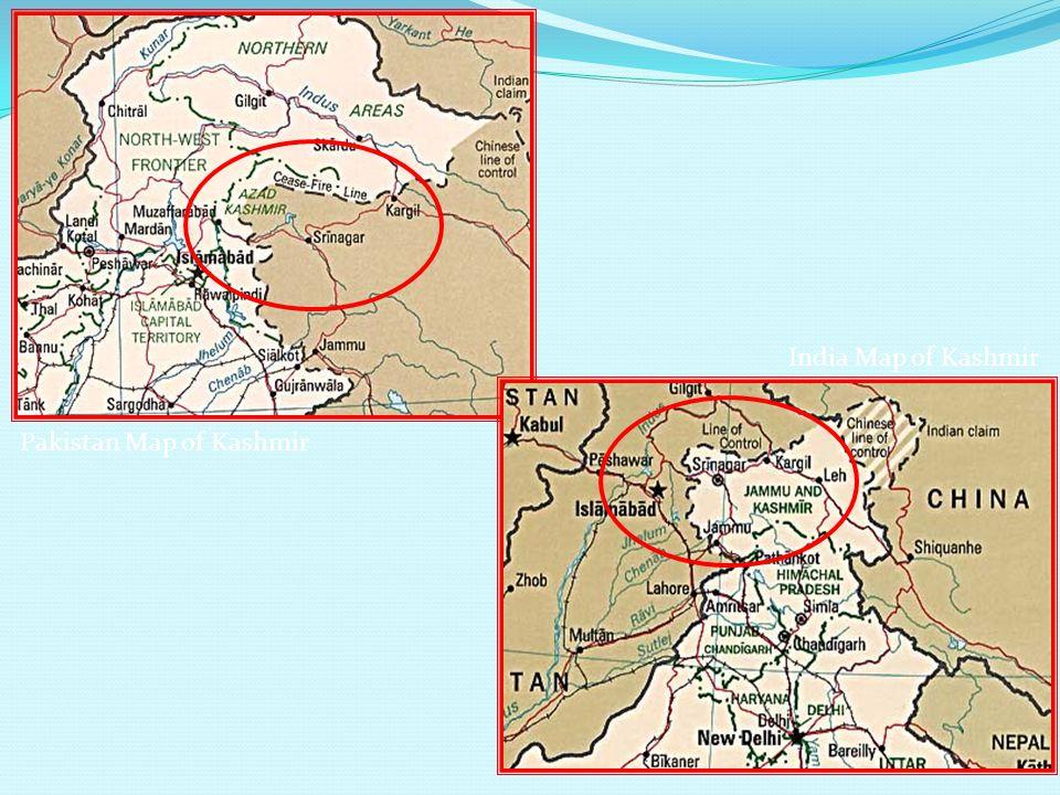 Pakistan Map of Kashmir India Map of Kashmir