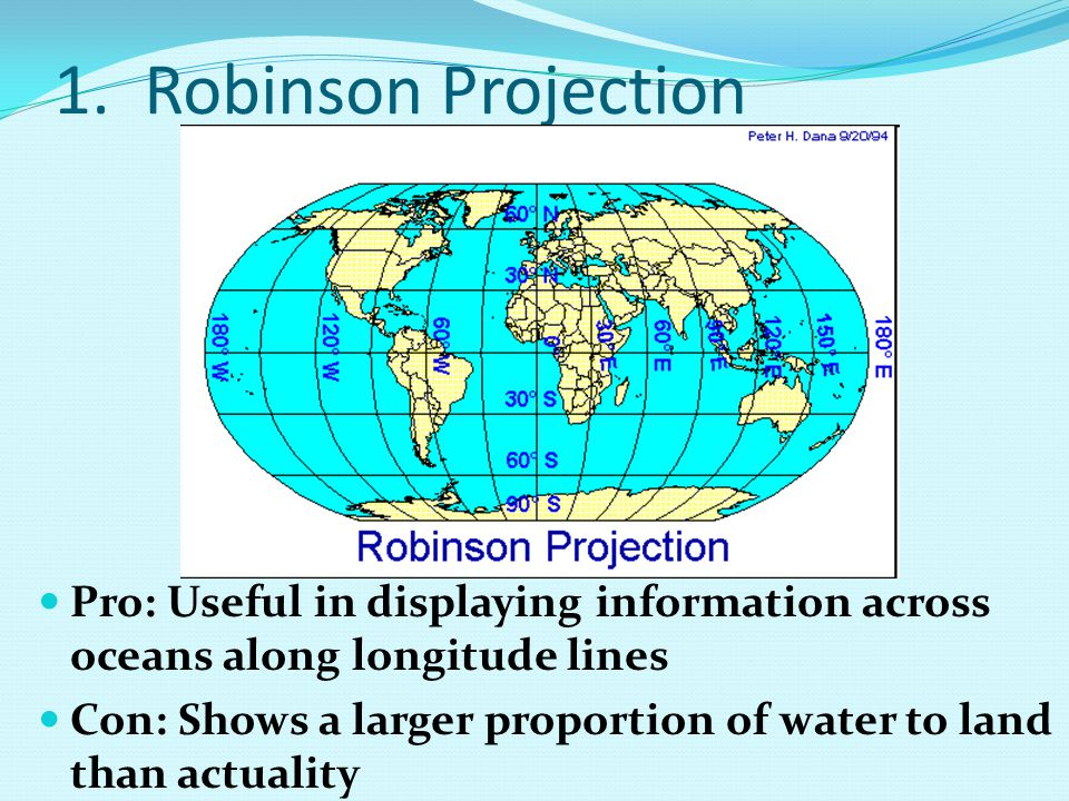 1. Robinson Projection Pro: Useful in displaying information across oceans along longitude lines Con: Shows a larger proportion of water to land than