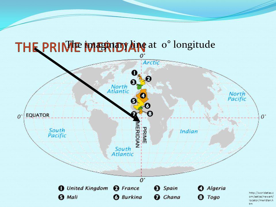 The imaginary line at 0° longitude http://worldatlas.c om/aatlas/newart/ locator/meridian.h tm