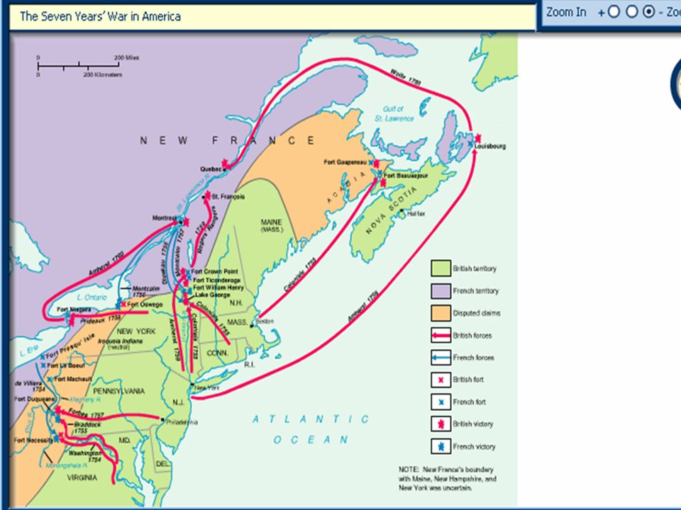 The Seven Years War in America After experiencing major defeats early in the war, Anglo-American forces turned the tide against the French by taking Fort Duquesne in late 1757 and Louisbourg in 1758.