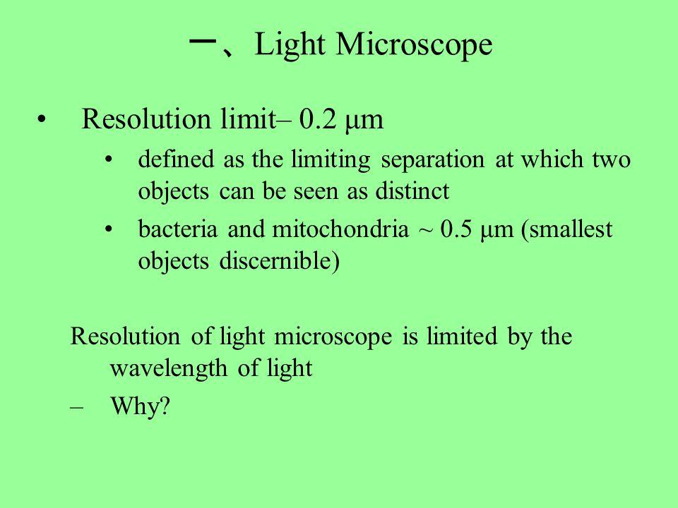 一、 Light Microscope Resolution limit– 0.2 μm defined as the limiting separation at which two objects can be seen as distinct bacteria and mitochondria ~ 0.5 μm (smallest objects discernible) Resolution of light microscope is limited by the wavelength of light –Why