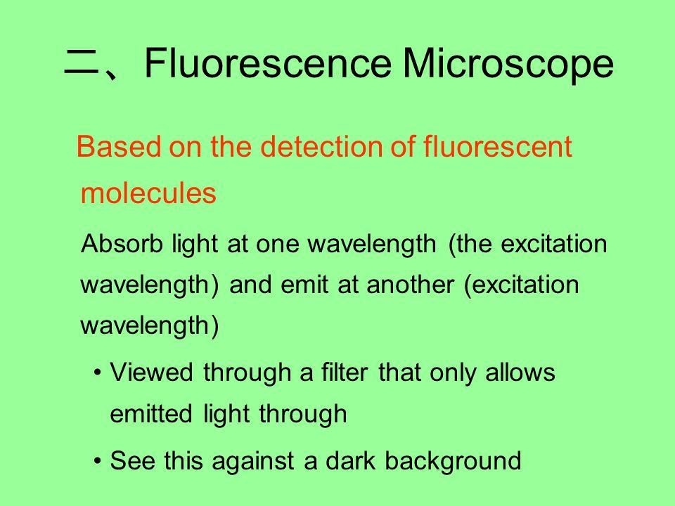 二、 Fluorescence Microscope Based on the detection of fluorescent molecules Absorb light at one wavelength (the excitation wavelength) and emit at another (excitation wavelength) Viewed through a filter that only allows emitted light through See this against a dark background