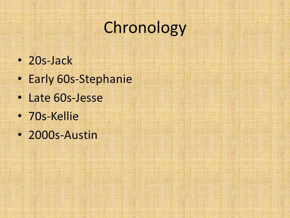 Chronology 20s-Jack Early 60s-Stephanie Late 60s-Jesse 70s-Kellie 2000s-Austin