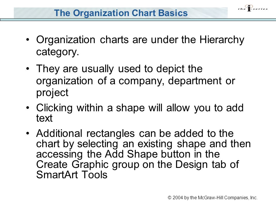 © 2004 by the McGraw-Hill Companies, Inc. The Organization Chart Basics Organization charts are under the Hierarchy category. They are usually used to