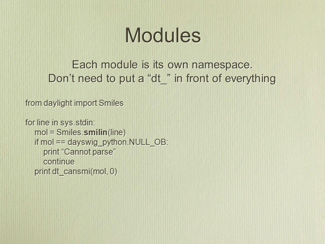 Modules Each module is its own namespace.