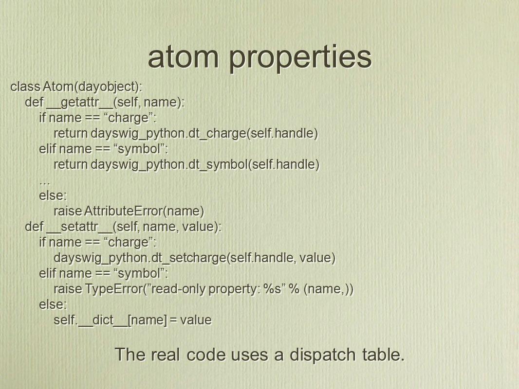 atom properties class Atom(dayobject): def __getattr__(self, name): if name == charge : return dayswig_python.dt_charge(self.handle) elif name == symbol : return dayswig_python.dt_symbol(self.handle)...