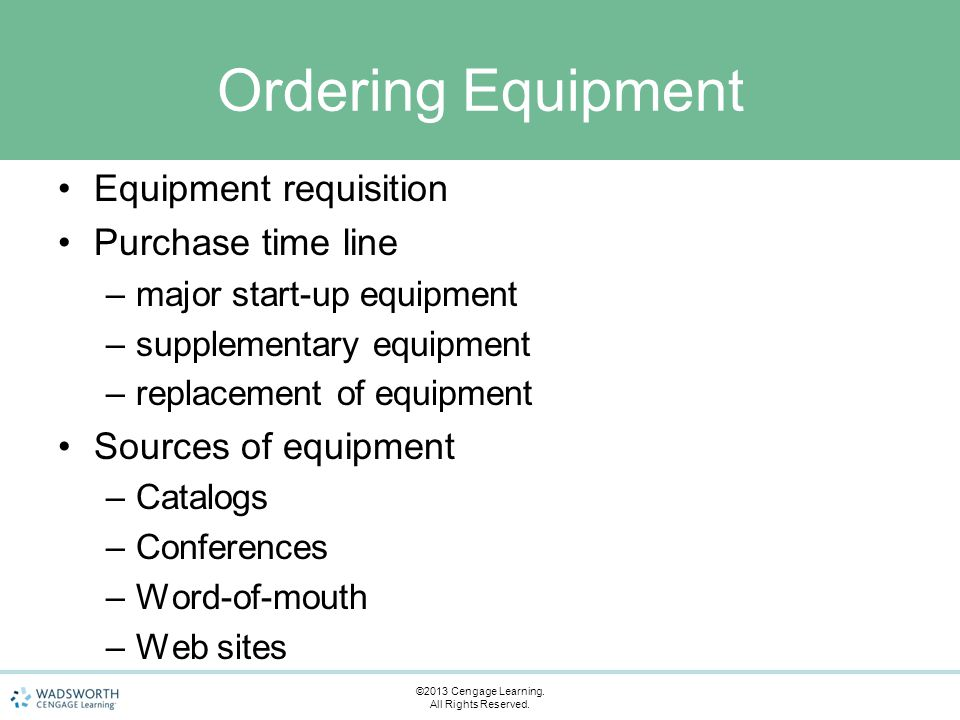 Ordering Equipment Equipment requisition Purchase time line –major start-up equipment –supplementary equipment –replacement of equipment Sources of eq