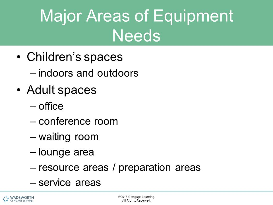Major Areas of Equipment Needs Children's spaces –indoors and outdoors Adult spaces –office –conference room –waiting room –lounge area –resource area