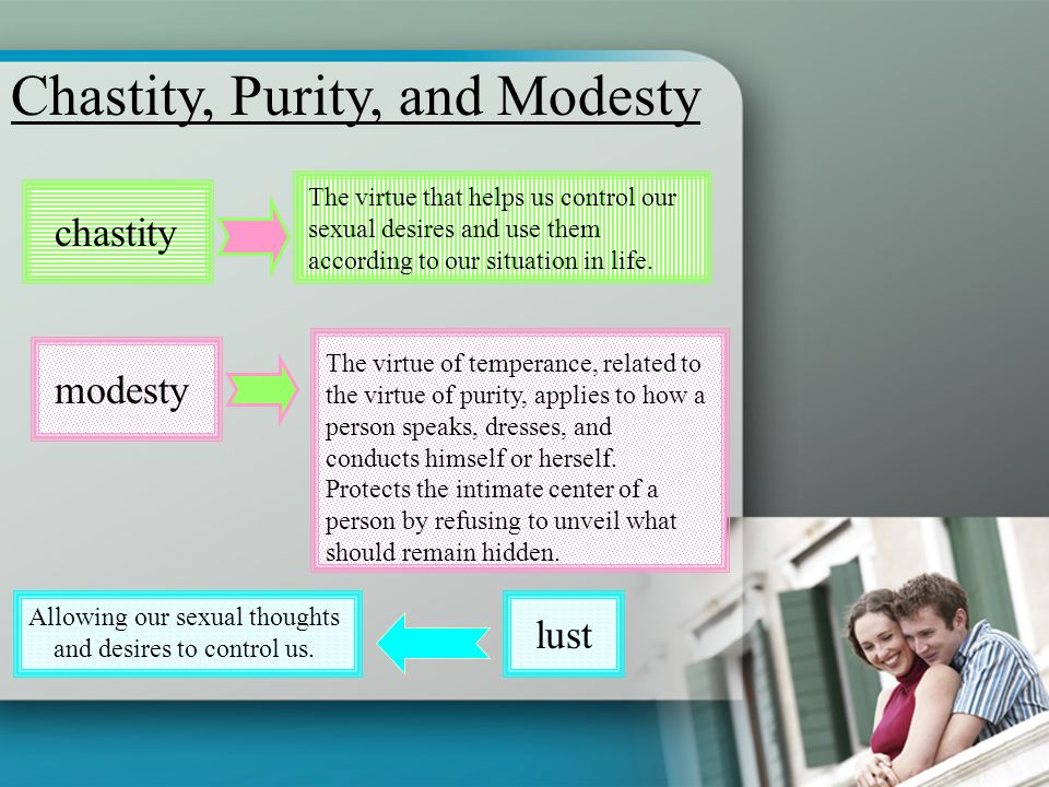 Chastity, Purity, and Modesty chastity The virtue that helps us control our sexual desires and use them according to our situation in life. modesty Th