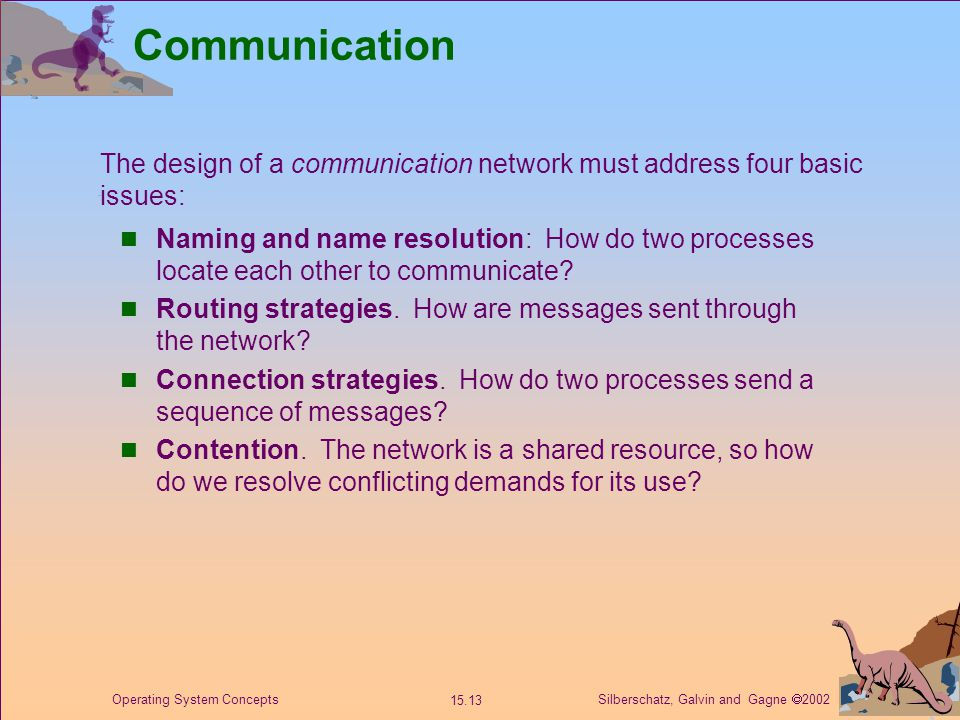 Silberschatz, Galvin and Gagne  2002 15.13 Operating System Concepts Communication Naming and name resolution: How do two processes locate each other to communicate.