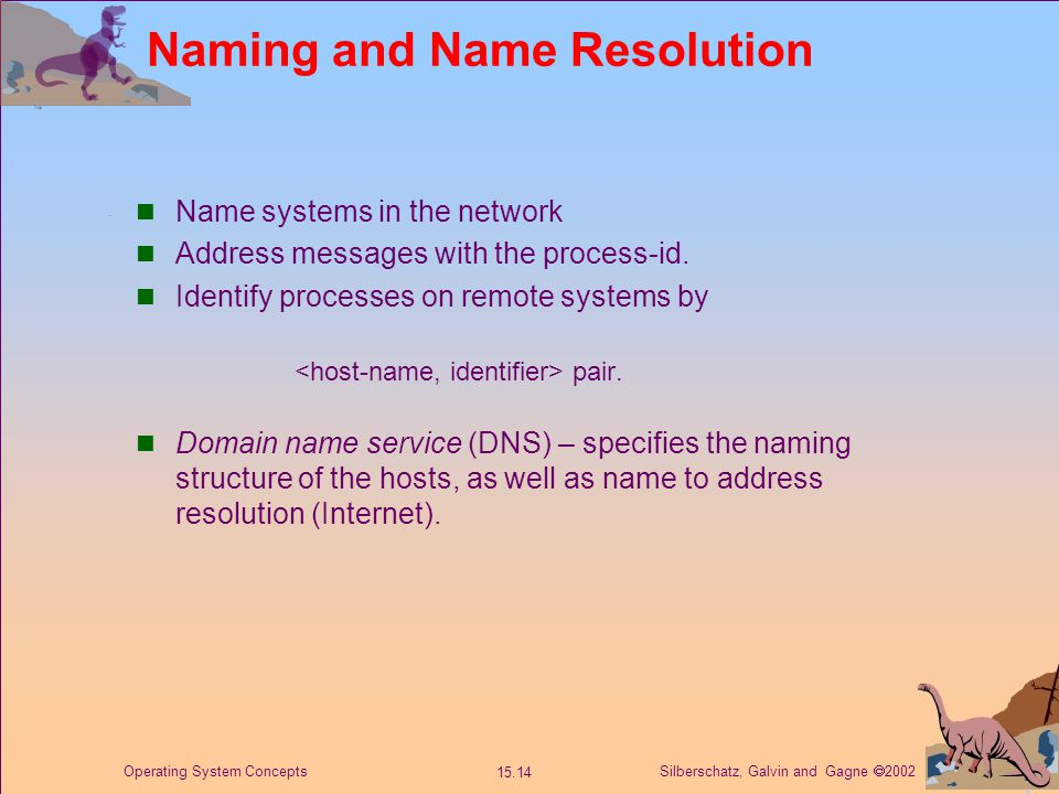 Silberschatz, Galvin and Gagne  2002 15.14 Operating System Concepts Naming and Name Resolution Name systems in the network Address messages with the process-id.