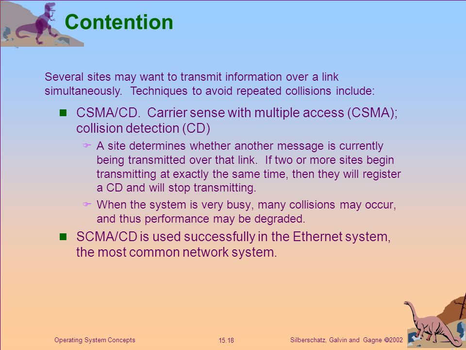 Silberschatz, Galvin and Gagne  2002 15.18 Operating System Concepts Contention CSMA/CD.
