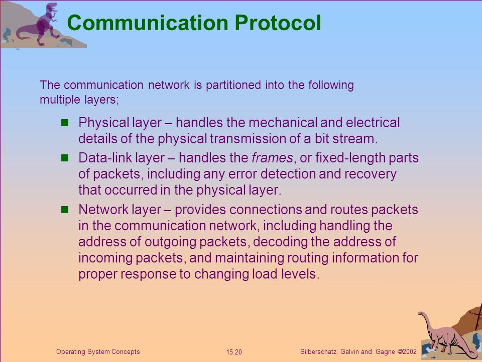 Silberschatz, Galvin and Gagne  2002 15.20 Operating System Concepts Communication Protocol Physical layer – handles the mechanical and electrical details of the physical transmission of a bit stream.