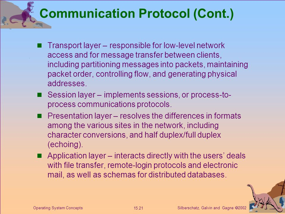 Silberschatz, Galvin and Gagne  2002 15.21 Operating System Concepts Communication Protocol (Cont.) Transport layer – responsible for low-level network access and for message transfer between clients, including partitioning messages into packets, maintaining packet order, controlling flow, and generating physical addresses.