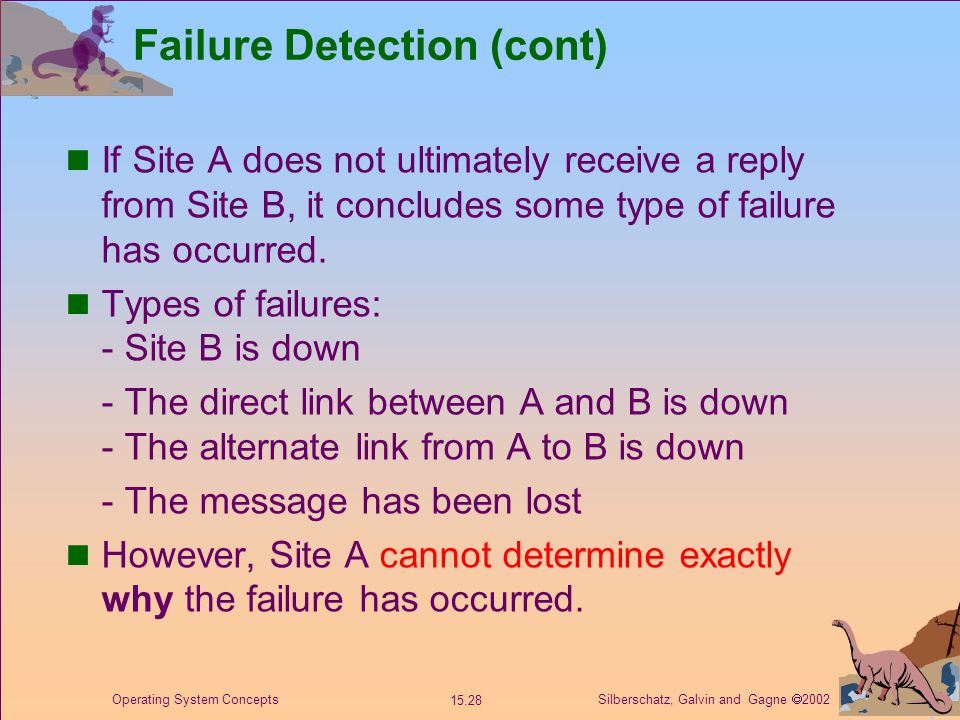 Silberschatz, Galvin and Gagne  2002 15.28 Operating System Concepts Failure Detection (cont) If Site A does not ultimately receive a reply from Site B, it concludes some type of failure has occurred.