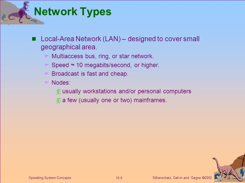 Silberschatz, Galvin and Gagne  2002 15.9 Operating System Concepts Network Types Local-Area Network (LAN) – designed to cover small geographical area.