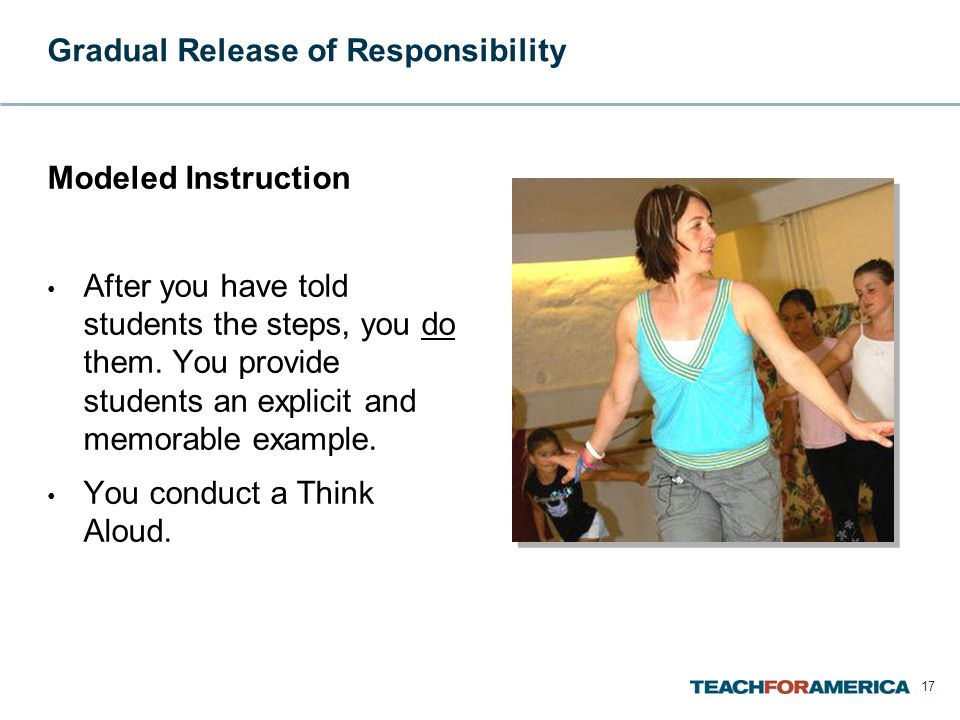 Gradual Release of Responsibility Modeled Instruction After you have told students the steps, you do them.