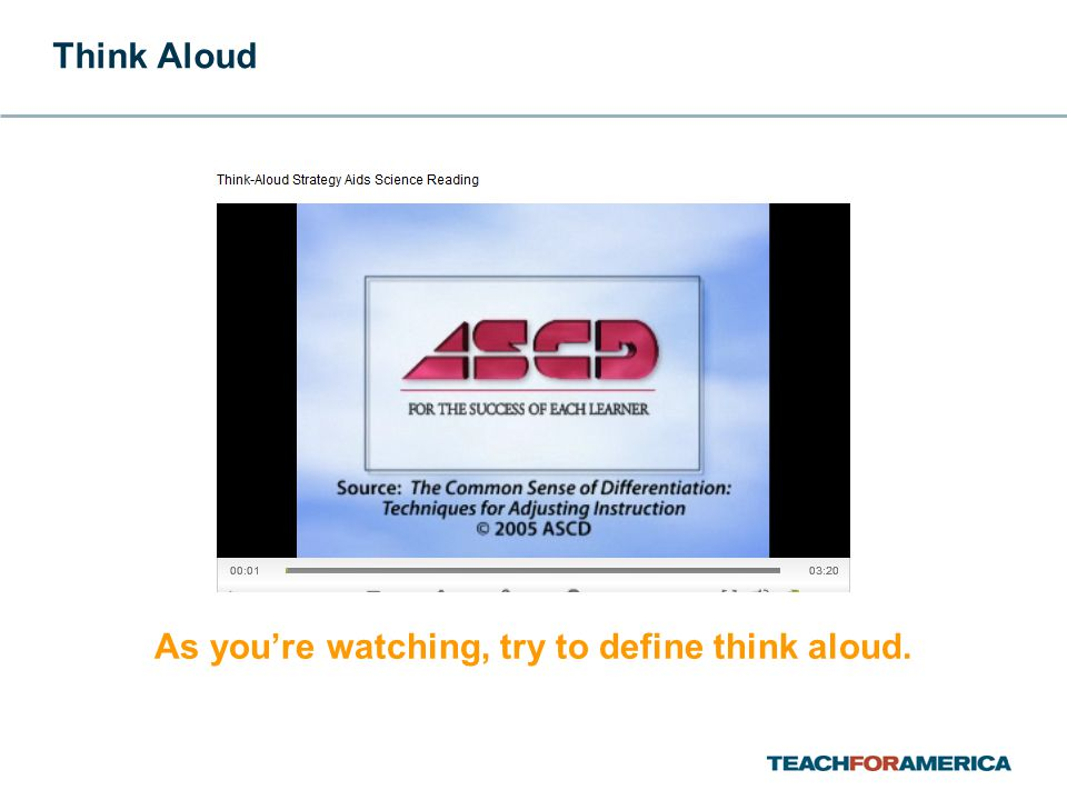 As you're watching, try to define think aloud. Think Aloud