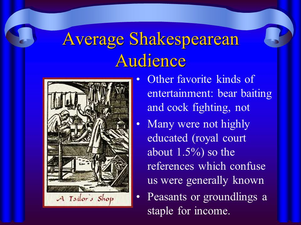 Average Shakespearean Audience Other favorite kinds of entertainment: bear baiting and cock fighting, not Many were not highly educated (royal court about 1.5%) so the references which confuse us were generally known Peasants or groundlings a staple for income.