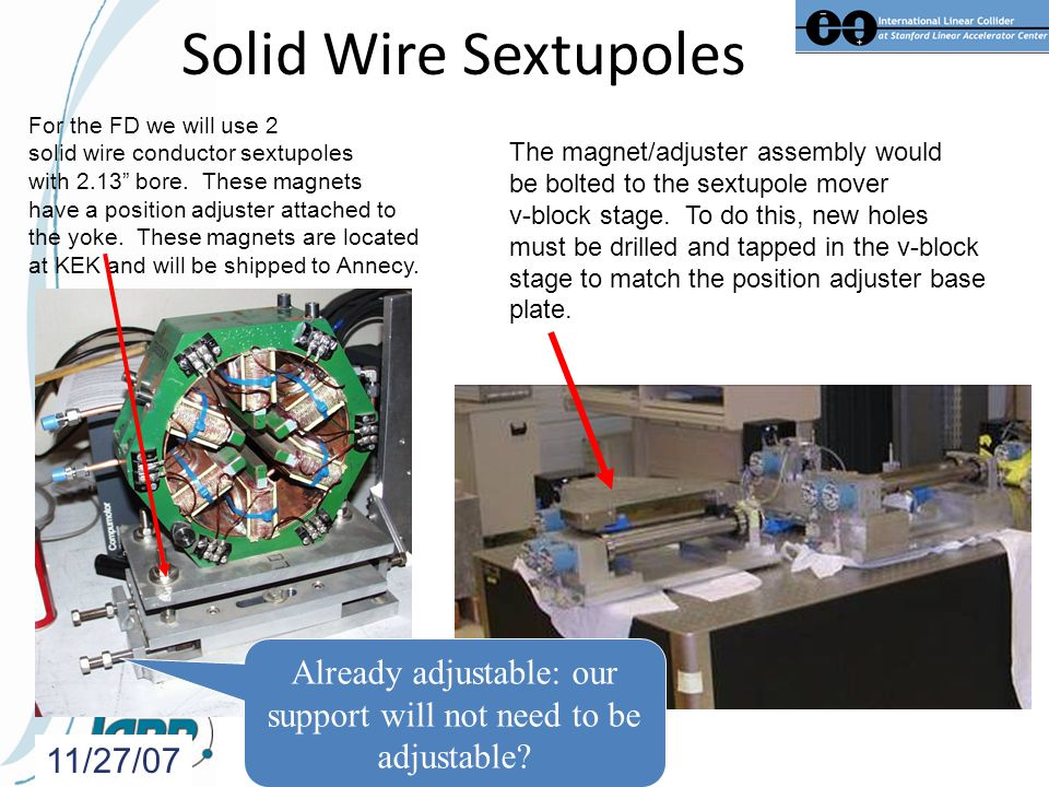 Solid Wire Sextupoles 11/27/07 For the FD we will use 2 solid wire conductor sextupoles with 2.13 bore.