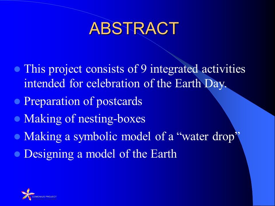 ABSTRACT This project consists of 9 integrated activities intended for celebration of the Earth Day.