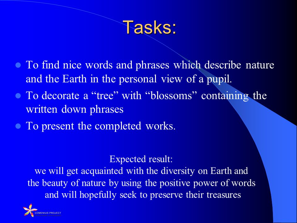 Tasks: To find nice words and phrases which describe nature and the Earth in the personal view of a pupil.