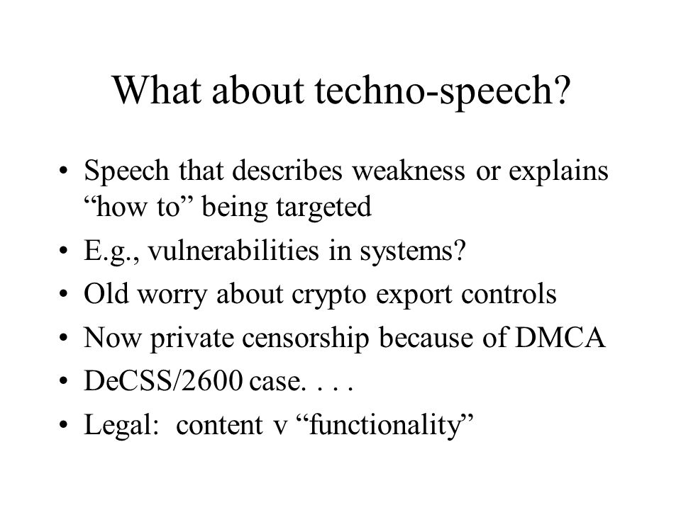 What about techno-speech.