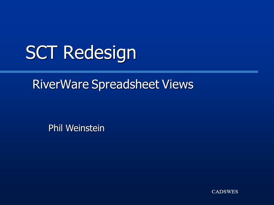 CADSWES SCT Redesign RiverWare Spreadsheet Views Phil Weinstein