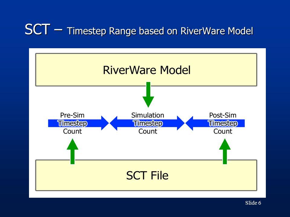 Slide 6 SCT – Timestep Range based on RiverWare Model