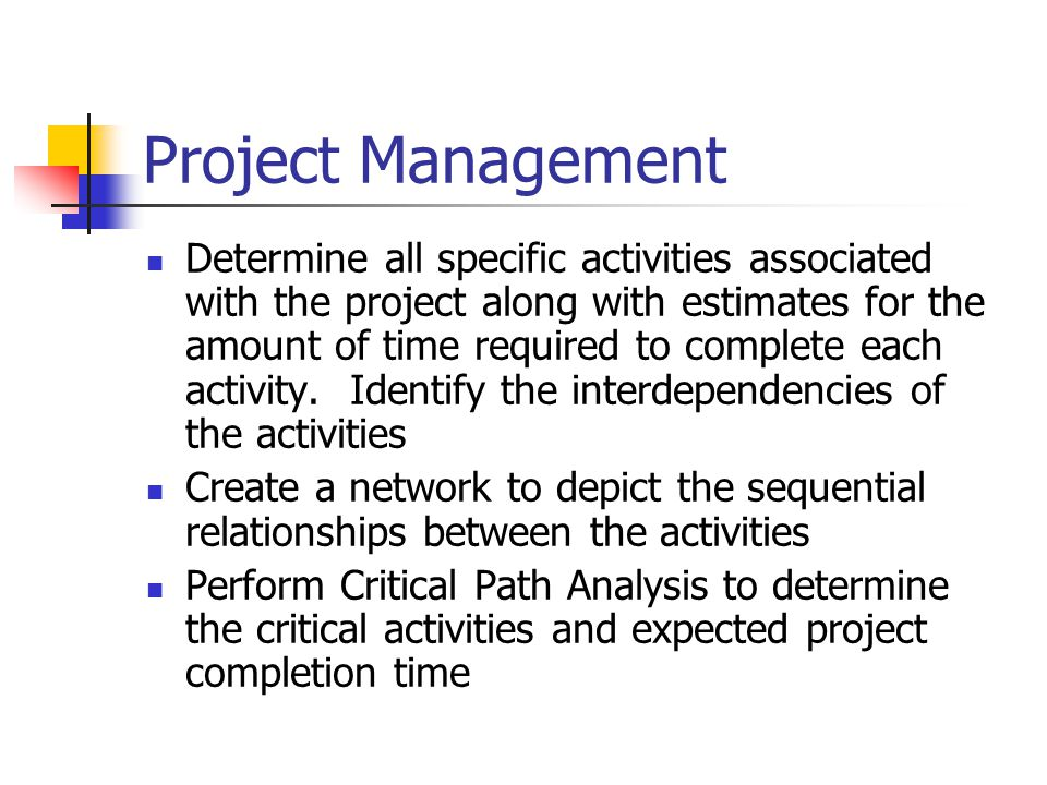 Project Management Determine all specific activities associated with the project along with estimates for the amount of time required to complete each activity.
