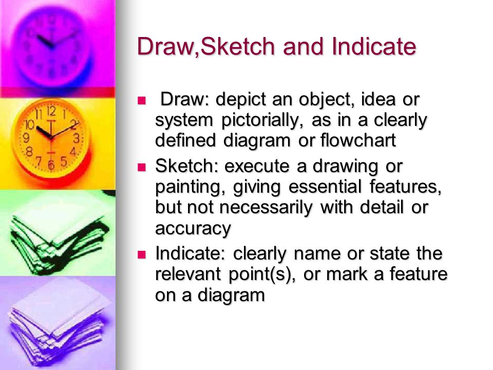 Draw,Sketch and Indicate Draw: depict an object, idea or system pictorially, as in a clearly defined diagram or flowchart Draw: depict an object, idea or system pictorially, as in a clearly defined diagram or flowchart Sketch: execute a drawing or painting, giving essential features, but not necessarily with detail or accuracy Sketch: execute a drawing or painting, giving essential features, but not necessarily with detail or accuracy Indicate: clearly name or state the relevant point(s), or mark a feature on a diagram Indicate: clearly name or state the relevant point(s), or mark a feature on a diagram
