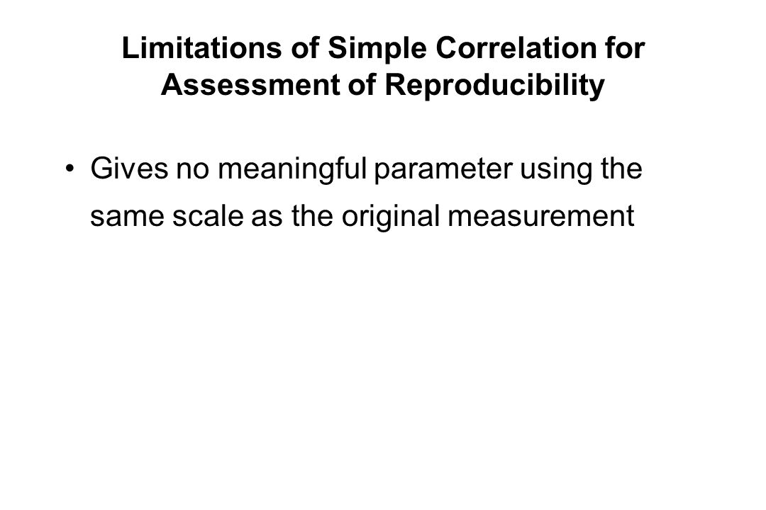 Limitations of Simple Correlation for Assessment of Reproducibility Gives no meaningful parameter using the same scale as the original measurement