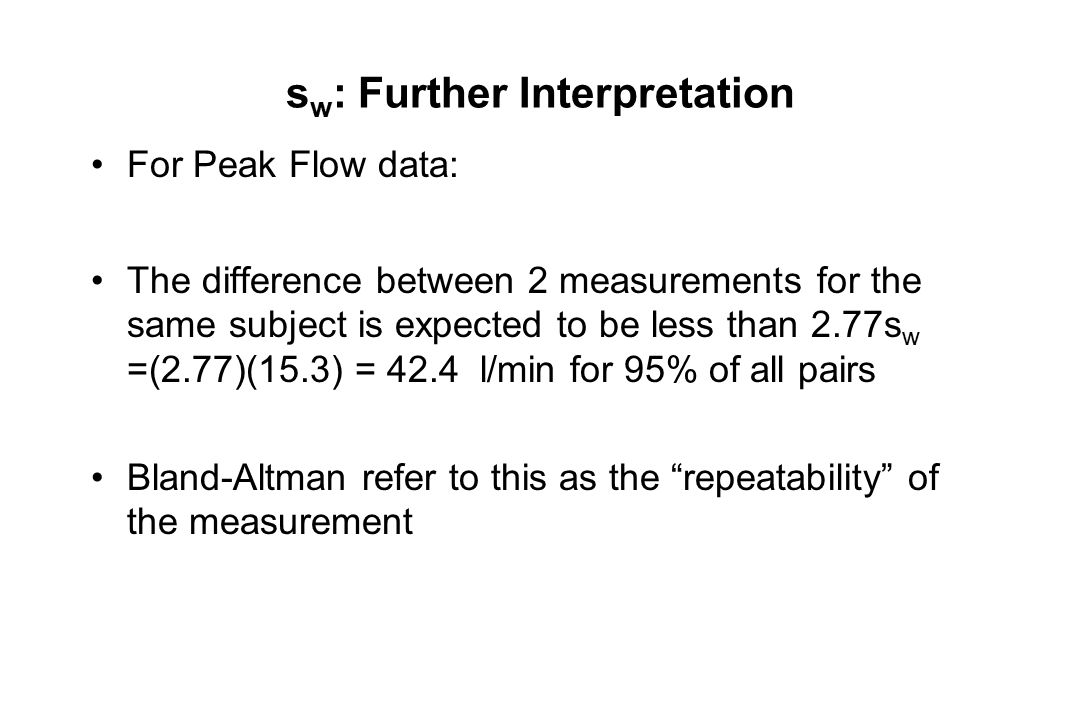 s w : Further Interpretation For Peak Flow data: The difference between 2 measurements for the same subject is expected to be less than 2.77s w =(2.77