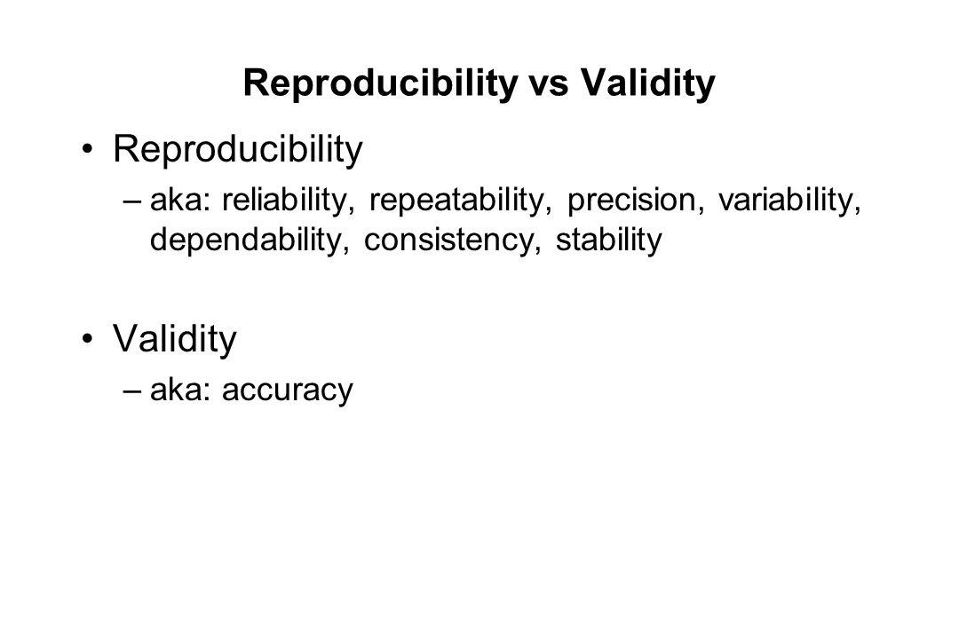 Reproducibility vs Validity Reproducibility –aka: reliability, repeatability, precision, variability, dependability, consistency, stability Validity –aka: accuracy