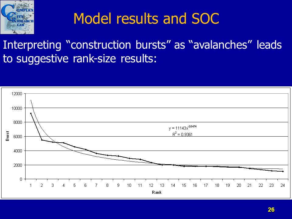 "Model results and SOC Interpreting ""construction bursts"" as ""avalanches"" leads to suggestive rank-size results: 26"
