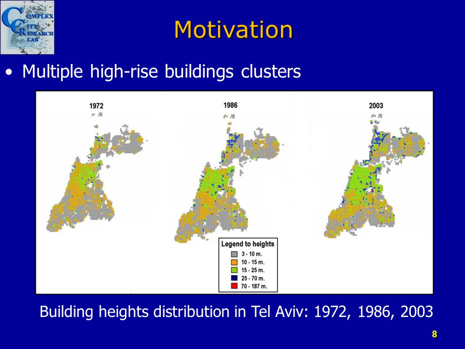 Motivation Multiple high-rise buildings clusters Building heights distribution in Tel Aviv: 1972, 1986, 2003 8