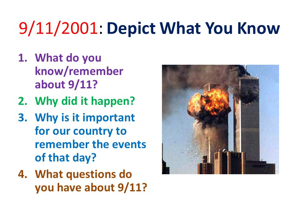 9/11/2001: Depict What You Know 1.What do you know/remember about 9/11.