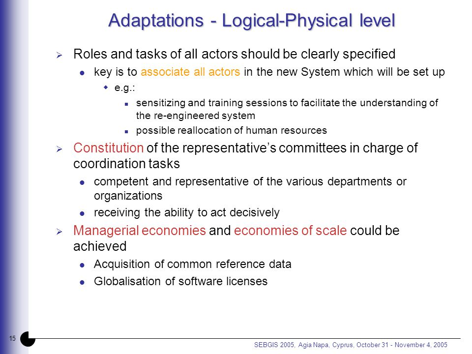 15 SEBGIS 2005, Agia Napa, Cyprus, October 31 - November 4, 2005 Adaptations - Logical-Physical level  Roles and tasks of all actors should be clearly specified key is to associate all actors in the new System which will be set up  e.g.: sensitizing and training sessions to facilitate the understanding of the re-engineered system possible reallocation of human resources  Constitution of the representative's committees in charge of coordination tasks competent and representative of the various departments or organizations receiving the ability to act decisively  Managerial economies and economies of scale could be achieved Acquisition of common reference data Globalisation of software licenses