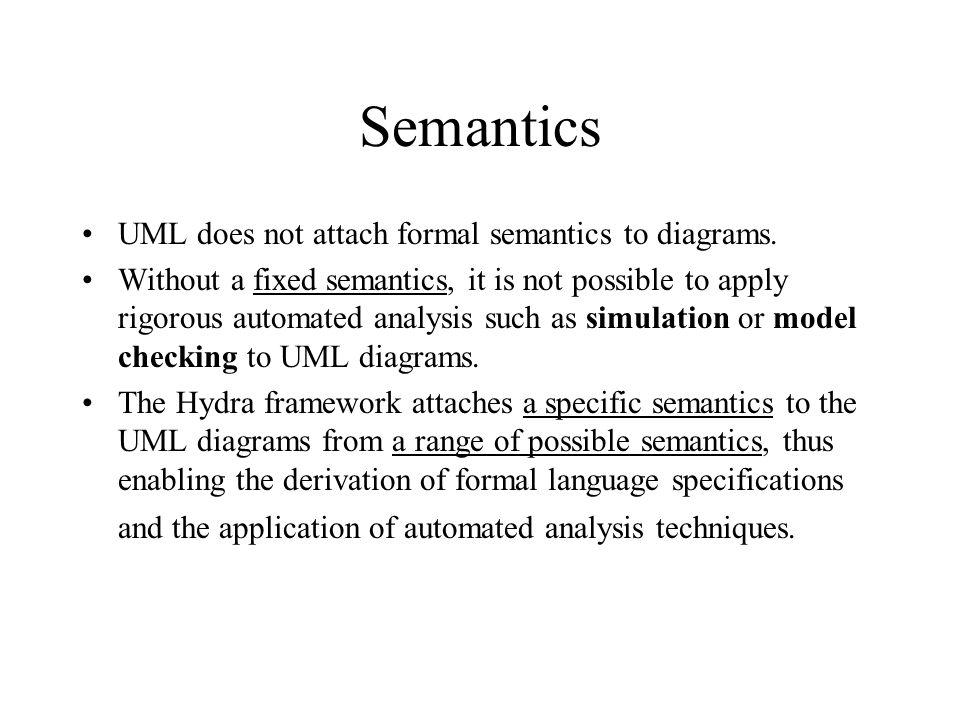 Semantics UML does not attach formal semantics to diagrams.