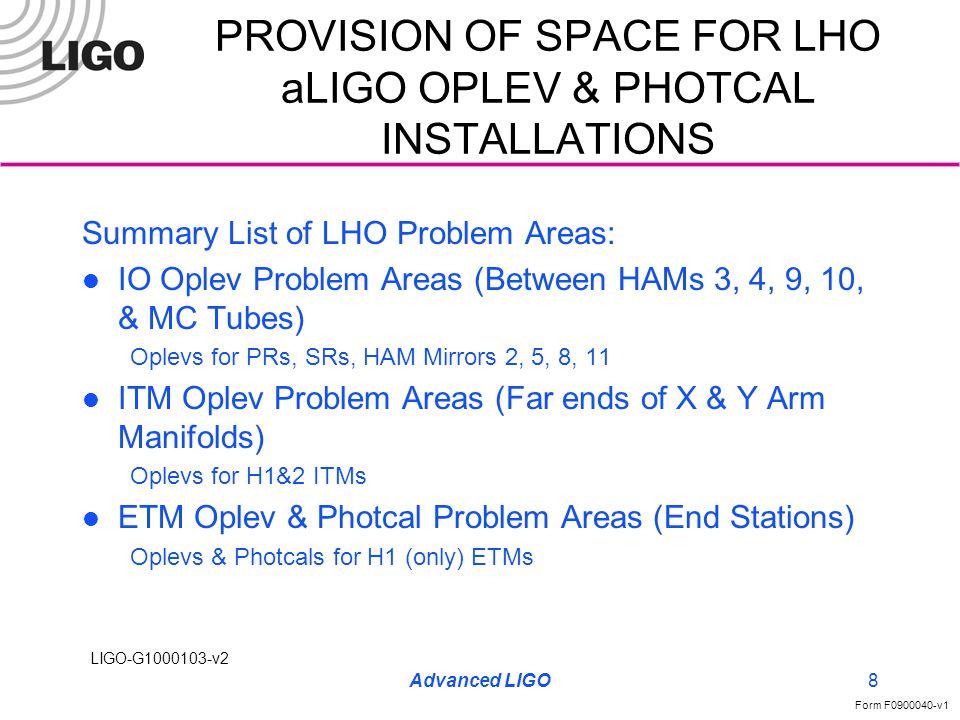LIGO-G1000103-v2 Form F0900040-v1 Advanced LIGO9 PROVISION OF SPACE FOR LHO aLIGO OPLEV & PHOTCAL INSTALLATIONS LHO IO OPLEV PROBLEM AREAS BETWEEN HAM3 & MC TUBE OPLEV LAUNCH - 4 CA PIPE BETWEEN HAM4 & MC TUBE OPLEV LAUNCH/RECEIVE - LARGE & SMALL VAC/CA PIPES, WATER & IA PIPES BETWEEN HAM9 & MC TUBE OPLEV LAUNCH - 4 CA PIPE BETWEEN HAM10 & MC TUBE OPLEV LAUNCH - 4 CA PIPE