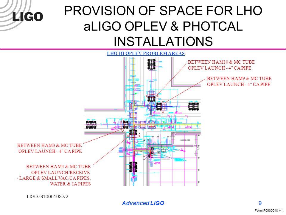 LIGO-G1000103-v2 Form F0900040-v1 Advanced LIGO10 PROVISION OF SPACE FOR LHO aLIGO OPLEV & PHOTCAL INSTALLATIONS LHO ITM-Y OPLEV PROBLEM AREA (SIMILAR TO LHO ITM-X, SEE PHOTO EXAMPLE P.