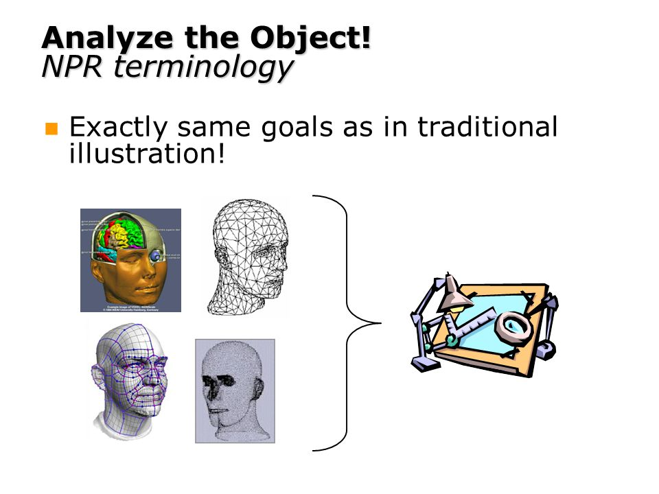 Analyze the Object! NPR terminology Exactly same goals as in traditional illustration!