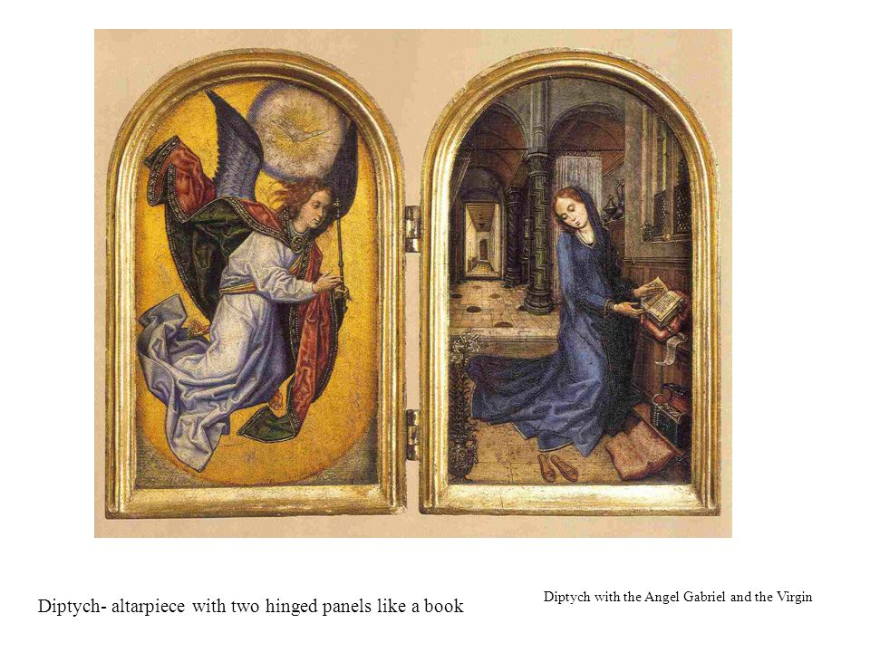 Diptych- altarpiece with two hinged panels like a book Diptych with the Angel Gabriel and the Virgin